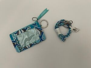 Vera Bradley Signature Cotton Zip ID Case & Lanyard in Go Fish Blue NEW $34