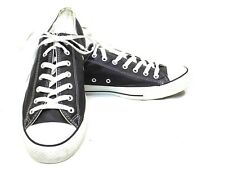 Converse All Star Black/White Leather Lace Up Low Top Shoes Men's 13 Womens 15