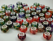 mix 50pcs murano DIY Jewelry Charm bead LAMPWORK fit European Bracelet beads t5