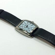 Ladies Titanium Large Dial Watch Dark Blue Genuine Leather Strap Cushion Boccia
