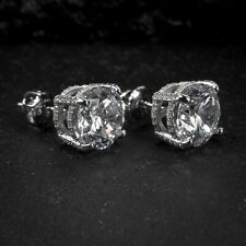 Mens Women Sterling Silver Round Solitaire Princess Cut Screw Back Stud Earrings