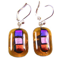DICHROIC Glass Earrings Amber Pink Orange Polka Dots Patterned Euro Lever Dangle