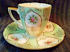 Ucagco Green Flowered Rose Cup and Saucer Demitasse Set Occupied Japan