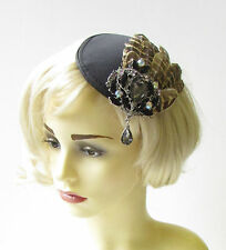 Black Brown Silver Pheasant Feather Fascinator Races 1940s Hair Vintage 1433