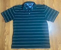 VTG Men's Tommy Hilfiger 100% Mercerized Cotton Green White Striped Golf Polo XL