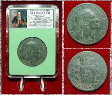 Coin King Of Spain ALFONSO XII Crowened COoat Of Arms On Reverse 10 Centimos