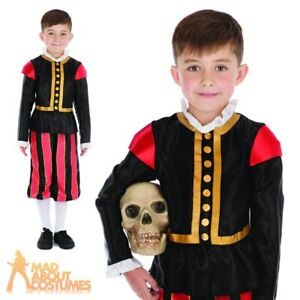 Kids Boys William Shakespeare Costume Medieval Tudor Fancy Dress Book Day Outfit