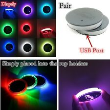 2x Universal (65mm) Switchable 7 Colors LED USB Charge Car Cup Holder Bottom Pad