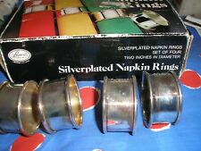 Leonard Vintage Silverplated EPNS Napkin Rings in Original Box. Set of 4
