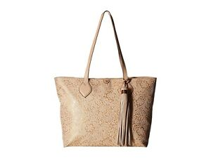 Tommy Bahama Barbados Embossed Hand Painted Leather Tote Natural/Rose Gold