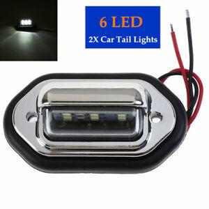 Auto Truck 10-30V 6LED White Tail Light License Plate Rear Lamp  Len Side light