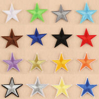 STAR IRON ON BADGE SEW ON PATCH EMBROIDERED RED BLUE BLACK GOLD SILVER WHITE