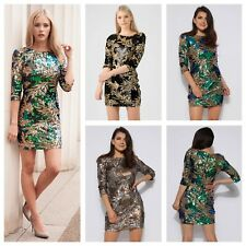 NEW WOMENS LADIES 3/4 SLEEVE EVENING PARTY GREEN/GOLD LEAF PATTERN SEQUIN DRESS
