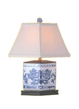"""Chinese Blue and White Porcelain Diamond Vase Chinoiserie Floral Table Lamp 16"""""""