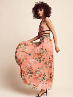 NEW $108 EXPRESS WOMENS PEACH FLORAL VACATION TROPICAL STRAPPY MAXI DRESS Large