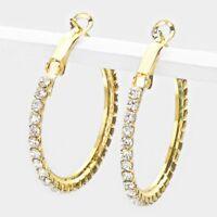 """1"""" gold crystal hoop pierced earrings bridal prom"""