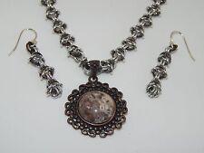 Natural Turritella Agate & Antique Copper Pendant & hand-made Chain Maille Set