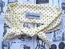 PASTEL YELLOW SPOTTY 50s STYLE HEAD BAND SCARF KAWAII HIP HOP