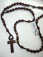"Men / Boys / Ladies Chunky Wooden Rosary Beads Crucifix/Cross 36"" Long Necklace"