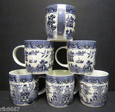 6 A Set Of Six Willow pattern Dream Mugs  by Churchill England