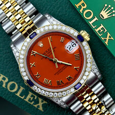 Women's Rolex 31mm Datejust 2 Tone Orange Roman Numeral Dial Sapphire & Diamond