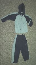 Nike Warmup Suit Hooded Boys Size 4 Navy With Gray Stripes Polyester