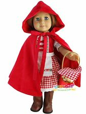 """Doll Clothes fits 18"""" American Girl Handmade Little Red Riding Hood Costume"""