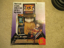 odd size 11- 8.5''  strike master hot shot double cheese  ARCADE GAME FLYER