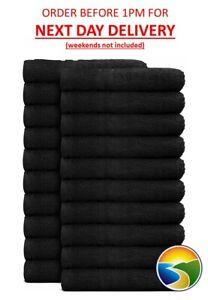 12 Black Salon Towels Hairdressing & Beauty Barber 100% Cotton 50x85cm 400gsm