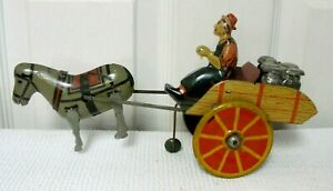 1930s Tin Lithograph Win Up Toy HEE-HAW Horse Drawn Milk Wagon MARX?