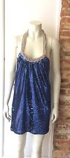 FOREVER UNIQUE BLUE SEQUIN HALTERNECK PARTY DRESS SIZE 1 FITS UK 12 BNWT £125