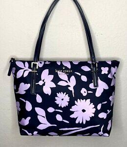 Kate Spade NY Watson Lane Small Maya Tote Handbag Parisian Floral Navy Blue NWT