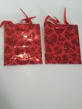 2 Small Red Glitter Hearts Gift Bag Valentine's Gift Bag