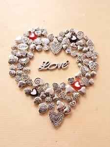 100 x Herzperlen zum Basteln/Schmuckherstellung Beads Spacer Zwischenperlen Deko