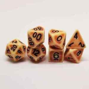 Barbarian Bone 7 RPG Dice Set Polyhedral DND Dungeons Dragons Pathfinder AD&D