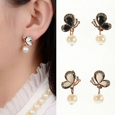 NewWomen New Trendy Butterfly Earings Bow Knot Pearl Stud Earrings Chic Ear、New