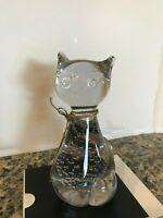 "CRYSTAL HAND BLOWN BUBBLE GLASS CAT FIGURINE PAPERWORK/DECOR 5"" TALL"