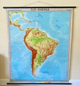 Large Vintage Westermann Sud Amerika South America Roll Down Wall Map Brazil