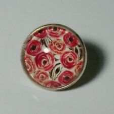 ROUND GLASS BROOCH/TIE CLIP/TIE TACK/BADGE/FLORAL/FLOWERS/PINK