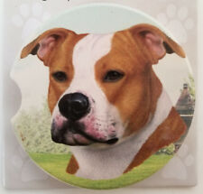 "Staffordshire Terrier Absorbent Car Coaster Stoneware 2.5"" Diameter by E&S Pets"