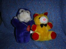 "Two Circus Circus Plush Animals Monkey 8"" High Bear Spot on Nose"