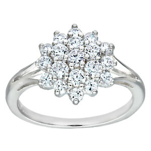 Sterling Silver 1.00ct Sparkling Cluster Ring - ALL SIZES AVAILABLE