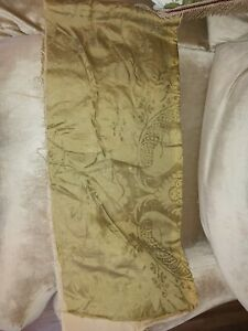 Remnant of Antique Olive Silk Damask/ Textiles from a French Chateau curtain