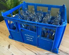 More details for  crate of 20 vintage glass milk bottles with blue plastic crate