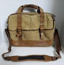 VTG LL Bean Leather Canvas Khaki Laptop Briefcase Messenger Bag