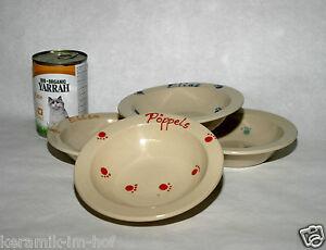 keramik-im-hof Futtertellerchen mit Wunschname, Napf, Schüssel Katze Hund