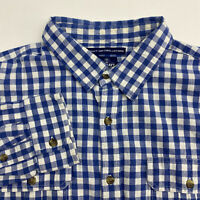 Old Navy Button Up Shirt Men's Size 2XL XXL Long Sleeve Blue White Plaid Cotton