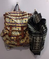 Urban Outfitter Ecote Canvas Aztec & Molina Indian Drawstring Backpack Lot Set