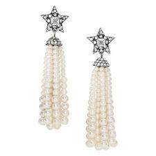 Souviens Shooting Drop Earrings Rhinestone Pave Star Post Beads Pearls Tassel