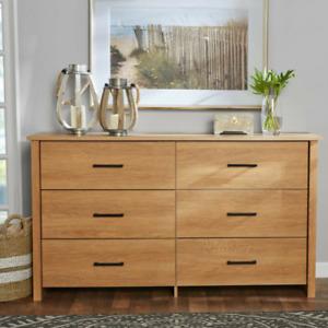 Modern Wood 6-Drawer Dresser For Storage Quality Design Color/ Dover Oak